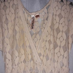 Eyeshadow Tops - Yellow Beige Lace Design Top with Tags